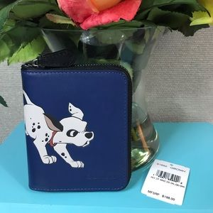 Coach Disney Men Blue Dalmation Zip Wallet